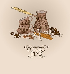 With vintage coffee turk copper and cups vector