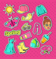 woman fashion style stickers badges and patches vector image