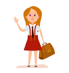 young girl in school uniform with bag vector image