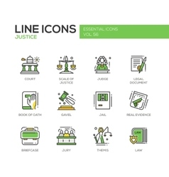 Justice - line design icons set vector