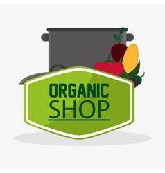 Cooking pot with vegetables organic shop meal vector