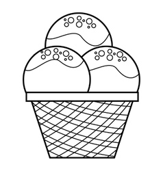Caramel ice cream icon outline style vector