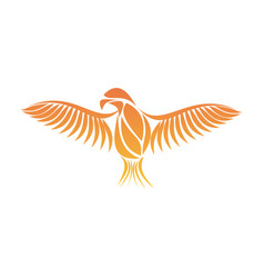 Flaming phoenix bird with wide spread wings in the vector