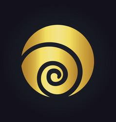 Round circle swirl ecology gold logo vector