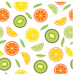 Seamless pattern with orange and kiwi vector