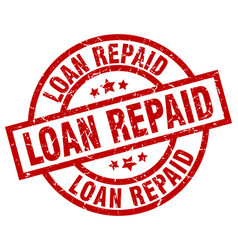 Loan repaid round red grunge stamp vector