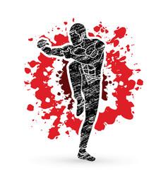 Drunken kung fu pose designed on splatter blood vector
