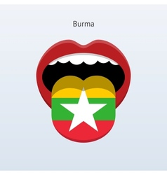 Burma language abstract human tongue vector
