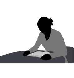 Woman reading book vector