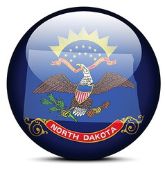 Map on flag button of usa north dakota state vector