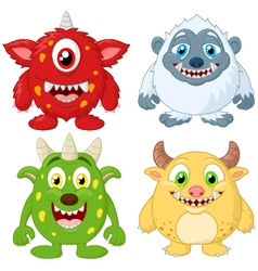 Cartoon monster collection set vector