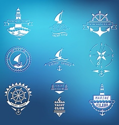 Set of yacht club logos on blurred background vector