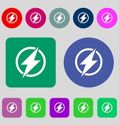 Photo flash sign icon lightning symbol 12 colored vector