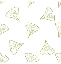 Ginkgo biloba pattern seamless Silhouette of vector image