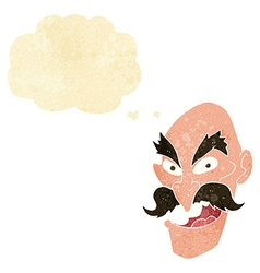 Cartoon evil old man face with thought bubble vector