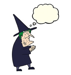 Cartoon ugly old witch with thought bubble vector