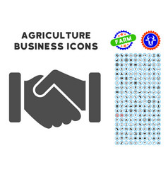 Agreement handshake icon with agriculture set vector