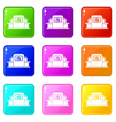 Airport baggage scanner set 9 vector