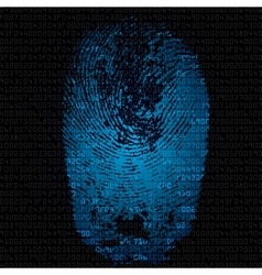 Background with fingerprint and hexadecimal code vector