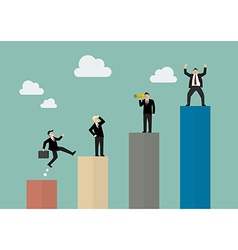Bar graph with businessmen in various activity vector