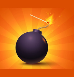 black bomb on orange background vector image