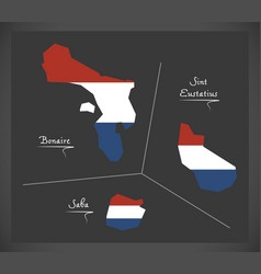 bonaire - sint eustatius - saba netherlands map vector image vector image