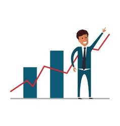 Businessman showing growing charts flat vector