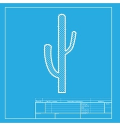 Cactus simple sign white section of icon on vector