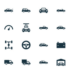 Car icons set collection of car accumulator vector