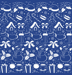christmas seamless pattern silhouettes of winter vector image vector image
