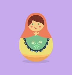 cute russian doll orange vector image vector image