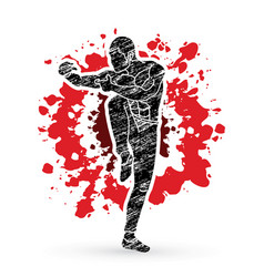 Drunken kung fu pose designed on splatter blood vector