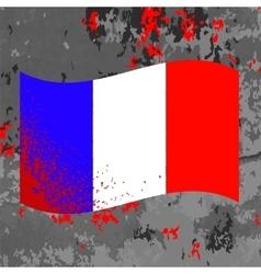Flag of France and Blood Splatter vector image vector image