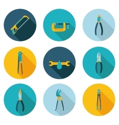 Flat icons bench tools vector