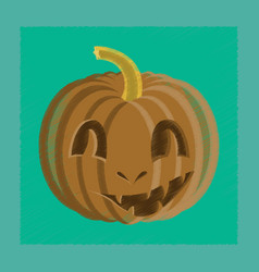 Flat shading style icon halloween pumpkin emotions vector