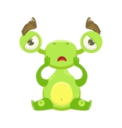 Funny monster sitting upset green alien emoji vector