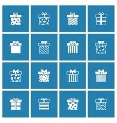 Gift boxes icons set in white blue vector