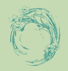 Hand drawing vintage circle wave with flowers vector