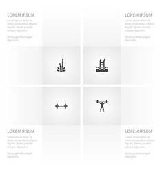 icon activities set of cane basin weightlifting vector image vector image