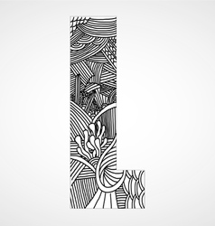 Letter L from doodle alphabet vector image