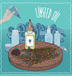 Linseed oil used as grease lubricant vector
