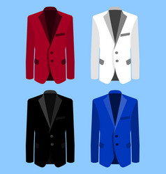 man suit set on blue background business flat vector image