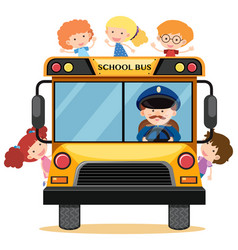 Many children riding school bus vector