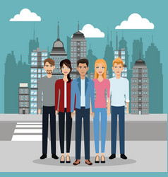 Men and women street city vector