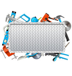 Metal frame with hand tools vector