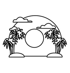 palms on sunset landscape vector image vector image