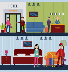people in hotel horizontal banners vector image