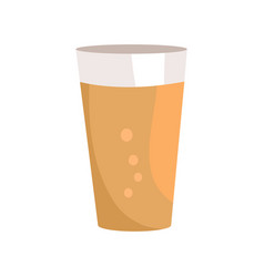 Pint of dark beer in transparent glass icon vector