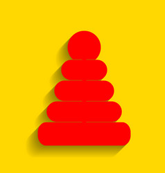 Pyramid sign red icon with vector