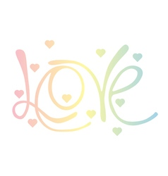 Rainbow love word and hearts vector